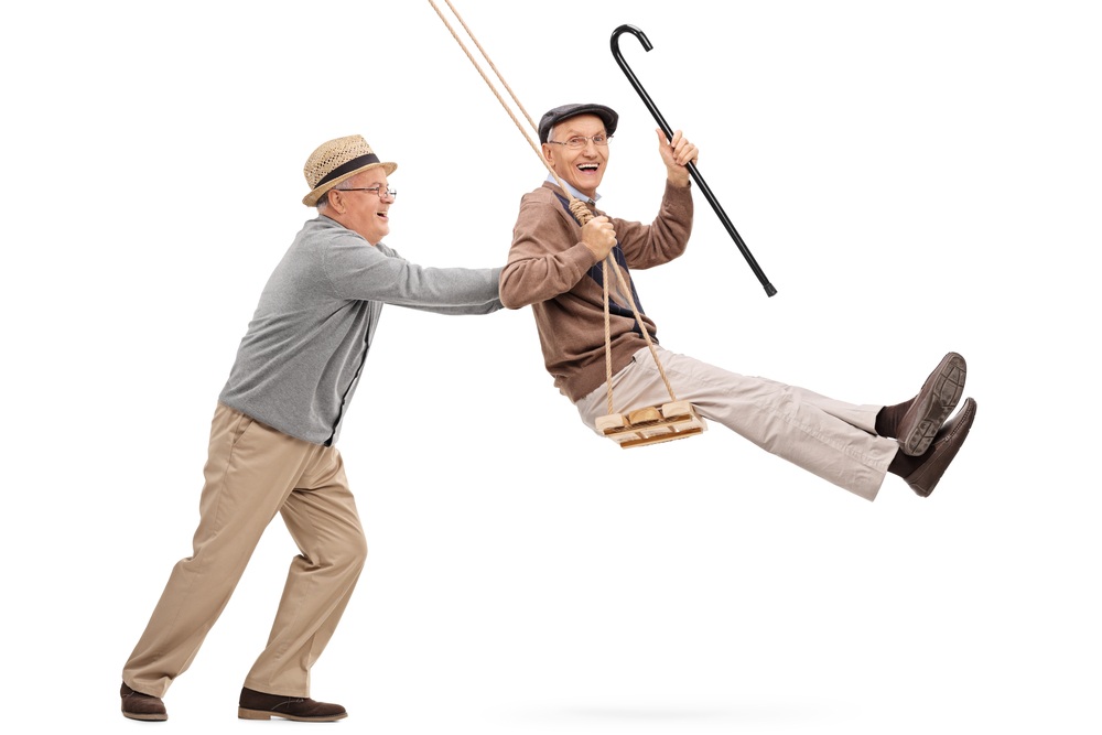 Eledrly Gentleman on swing